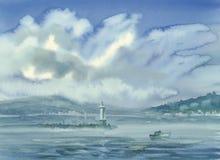 Paysage de lac geneva avec l'aquarelle de nuages et de montagnes illustration libre de droits