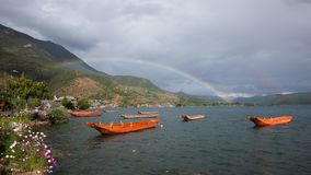 Paysage de lac Lugu Image stock