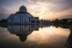 Paysage de lever de soleil Seri Iskandar, Perak, Malaisie Photos stock