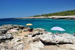 Paysage de littoral, Porto Selvaggio, Italie photographie stock libre de droits