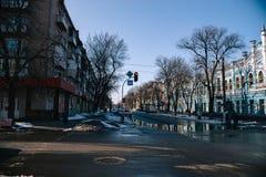 Paysage de mars de ville Tcherkassy, Ukraine, le 24 mars 2018 Image libre de droits