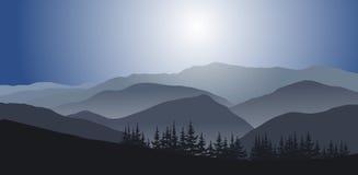 Paysage de matin aux montagnes illustration stock