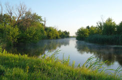 Paysage de matin avec le brouillard sur la rivière Photographie stock libre de droits