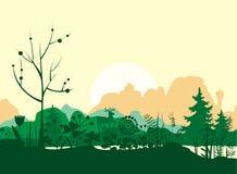 Paysage de matin d'été avec des cerfs communs et des montagnes Images stock