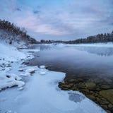 Paysage de matin de la rivière sibérienne Images libres de droits