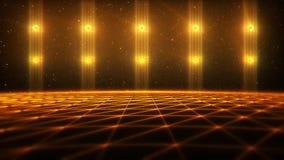 paysage de matrice de l'or 3D à l'arrière-plan de boucle de vj de cyberespace illustration libre de droits