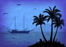 Paysage de mer avec les paumes et le bateau Photos stock
