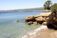 Paysage de mer près de Bandol, France Photographie stock