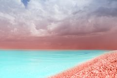 Paysage de mer Turquoise modifiée la tonalité, plage de corail de paradis d'été de couleurs photo libre de droits