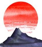Paysage de Minimalistic Silhouette foncée de hautes montagnes Cercle rouge lumineux du soleil illustration libre de droits