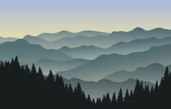 Paysage de montagne au matin illustration stock