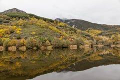 Paysage de montagne avec des réflexions en automne photographie stock