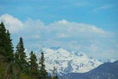 Paysage de montagne avec la forêt colorée et les crêtes couronnées de neige élevées jour étonnant de montagnes de Caucase du beau Images stock