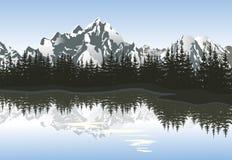 Paysage de montagne avec le lac et la crête neigeuse Illustration Stock