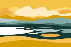Paysage de montagne avec un lac Voyage, activités en plein air, sports en plein air, vacances Style plat illustration libre de droits