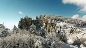Paysage de montagne de calme d'hiver avec de beaux arbres se givrants projectile Vue supérieure du paysage accidenté en hiver banque de vidéos