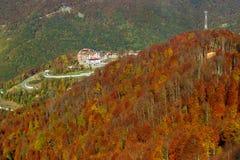 Paysage de montagne d'automne, Krasnaya Polyana, Sotchi Image libre de droits