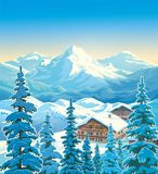 Paysage de montagne d'hiver avec des maisons photo stock
