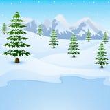 Paysage de montagne d'hiver avec les sapins et le lac congelé illustration de vecteur