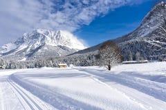 Paysage de montagne d'hiver avec les traînées toilettées de ski photos stock