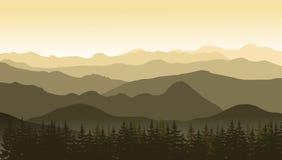 Paysage de montagne dans des couleurs brunes au matin Illustration Libre de Droits