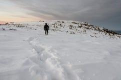 Paysage de montagne dans l'horaire d'hiver dans Carphatians Image stock