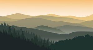 Paysage de montagne dans la soirée d'été illustration stock