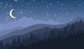 Paysage de montagne de nuit avec la nouvelle lune et les étoiles Illustration Libre de Droits
