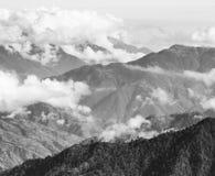 Paysage de montagne du Guatemala noir et blanc Photos stock