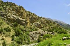 Paysage de montagne, gorge de Galuyan, Kirghizistan Photographie stock libre de droits