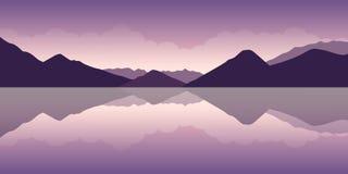 Paysage de montagne pourpre et d'eau illustration de vecteur