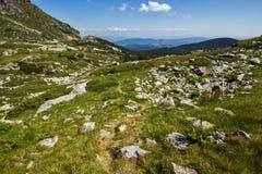 Paysage de montagne de Rila près des sept lacs Rila, Bulgarie Image libre de droits