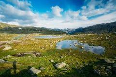 Paysage de montagnes avec le ciel bleu et le lac en Norvège scandinavia photo libre de droits