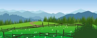 Paysage de montagnes avec le pré et les arbres Illustration Libre de Droits