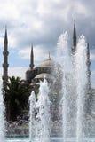 Paysage de mosquée bleue derrière la fontaine Image stock