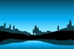 Paysage de nature avec la silhouette d'arbres Images stock