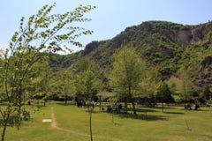 Paysage de nature et de touristes près de Roupite - l'endroit étonnant entrelacent le climat deux photos libres de droits
