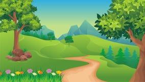 Paysage de nature, fond de jeu de bande dessinée Photo stock