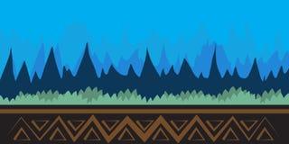 Paysage de nature, fond pour des jeux, arbres, montagnes Photo stock