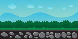 Paysage de nature, fond pour des jeux, arbres, montagnes Image libre de droits