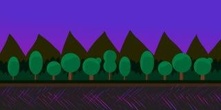Paysage de nature, fond pour des jeux, arbres, montagnes Images libres de droits