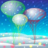 Paysage de neige avec des arbres et des confettis Image stock