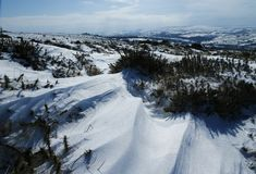 Paysage de neige en parc national de Dartmoor Photos libres de droits