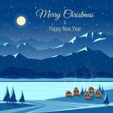 Paysage de neige de nuit d'hiver avec la lune, montagnes Noël et célébration d'an neuf Carte de voeux avec le texte illustration libre de droits