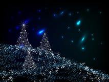 Paysage de Noël de nuit Photographie stock