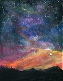 Paysage de nuit étoilée avec le ciel et la lune Colorf de galaxie de manière laiteuse photos libres de droits