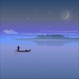 Paysage de nuit avec de basses montagnes et ciel étoilé illustration libre de droits