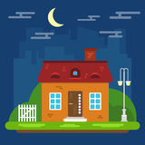 Paysage de nuit avec la Chambre dans une conception plate illustration de vecteur