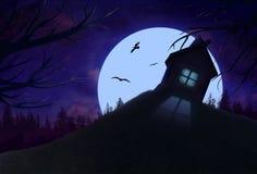 Paysage de nuit avec la maison solitaire sur la colline Photos stock