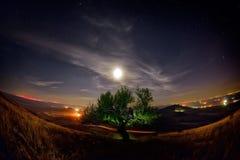 Paysage de nuit avec la manière laiteuse au-dessus des champs image libre de droits